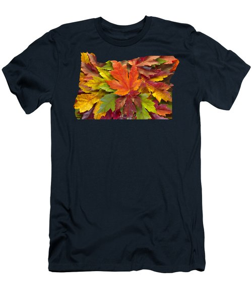 Oregon Maple Leaves Mixed Fall Colors Background Men's T-Shirt (Athletic Fit)