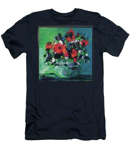 Men's T-Shirt (Slim Fit) featuring the painting Original Bouquetaday Floral Painting By Elaine Elliott, Blues And Greens, 12x12, 59.00 Incl. Shippin by Elaine Elliott