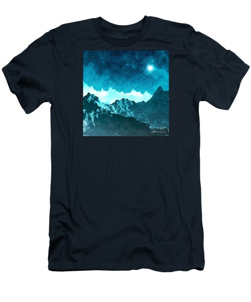 Men's T-Shirt (Slim Fit) featuring the digital art Outer Space Mountains by Phil Perkins