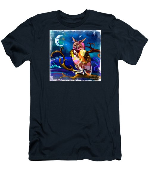 Owl Watching The Moon Men's T-Shirt (Athletic Fit)
