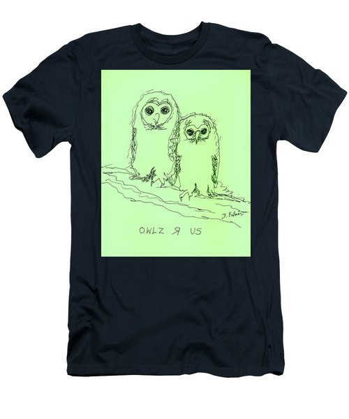 Men's T-Shirt (Slim Fit) featuring the drawing Owlz R Us by Denise Fulmer