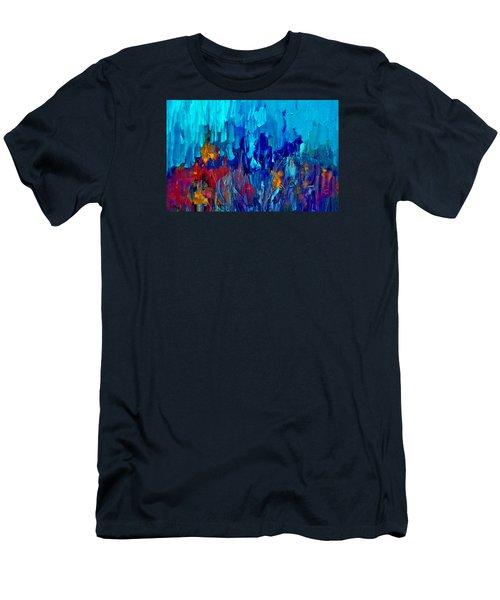 Painterly Garden Flowers Men's T-Shirt (Slim Fit) by Lisa Kaiser