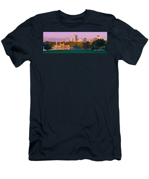 Panorama Of Denver Skyline From Museum Of Nature And Science - City Park Denver Colorado Men's T-Shirt (Athletic Fit)