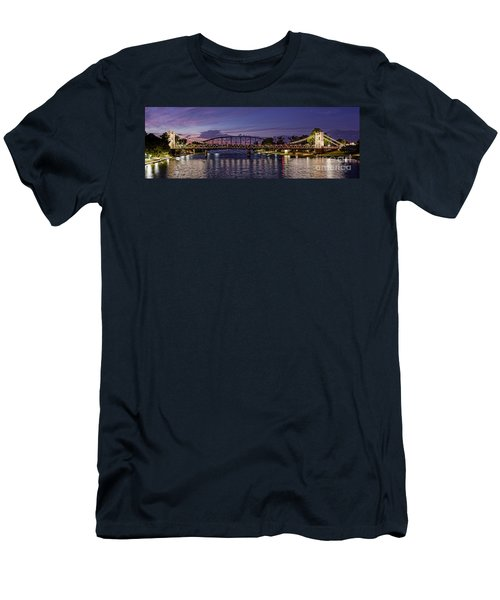 Panorama Of Waco Suspension Bridge Over The Brazos River At Twilight - Waco Central Texas Men's T-Shirt (Athletic Fit)