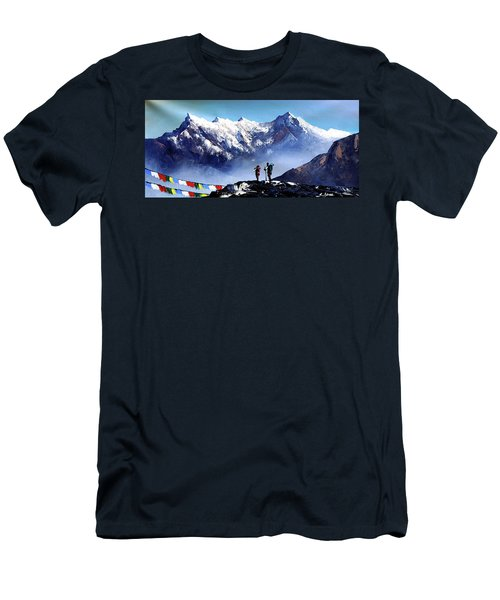 Panoramic View Of Ama Dablam Peak Everest Mountain Men's T-Shirt (Athletic Fit)