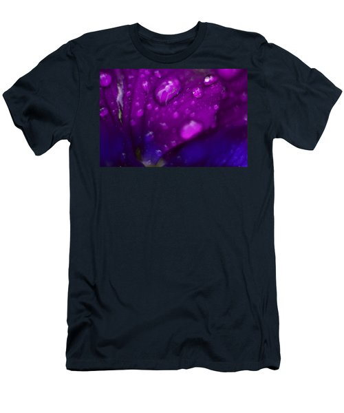Pansy Rain Macro Men's T-Shirt (Slim Fit) by Bonfire Photography