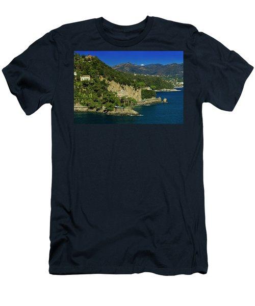 Paraggi Bay Castle And Liguria Mountains Portofino Park  Men's T-Shirt (Athletic Fit)