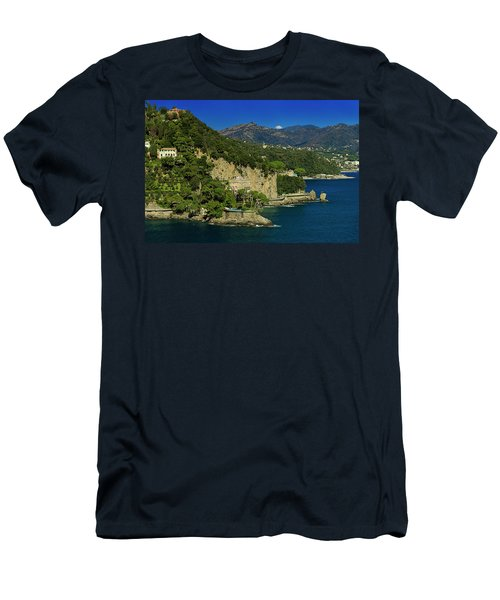 Paraggi Bay Castle And Liguria Mountains Portofino Park  Men's T-Shirt (Athletic Fit)