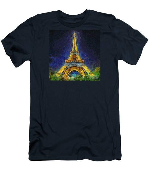 Men's T-Shirt (Slim Fit) featuring the painting Paris By Night by Dragica  Micki Fortuna