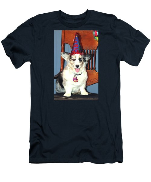 Men's T-Shirt (Slim Fit) featuring the photograph Party Time Dog by Cathy Donohoue