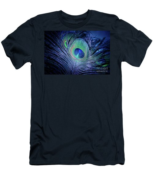 Men's T-Shirt (Athletic Fit) featuring the photograph Peacock Feather Blush by Sharon Mau