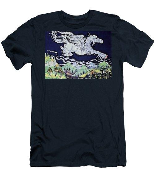 Pegasus Flying Over Stream Men's T-Shirt (Slim Fit)