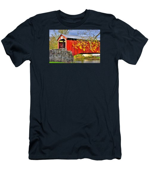 Pennsylvania Country Roads - Dellville Covered Bridge Over Sherman Creek No. 13 - Perry County Men's T-Shirt (Athletic Fit)