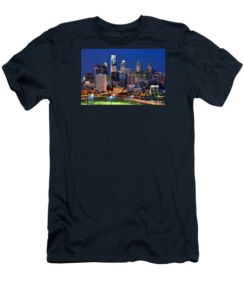 Philadelphia Skyline At Night Men's T-Shirt (Slim Fit) by Jon Holiday