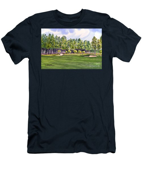 Men's T-Shirt (Athletic Fit) featuring the painting Pinehurst Golf Course 17th Hole by Bill Holkham