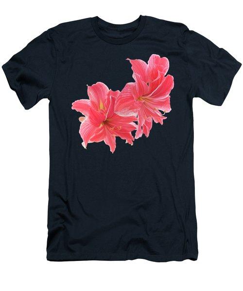 Pink Amaryllis On Black Men's T-Shirt (Athletic Fit)