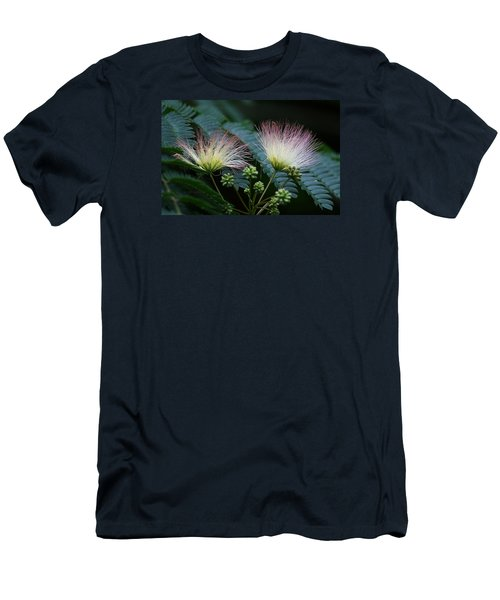 Pink Mimosa  Men's T-Shirt (Slim Fit) by Yvonne Wright