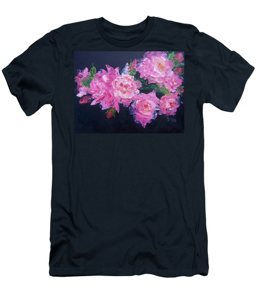 Pink Roses Oil Painting Men's T-Shirt (Athletic Fit)
