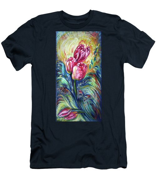 Pink Tulips And Butterflies Men's T-Shirt (Slim Fit)