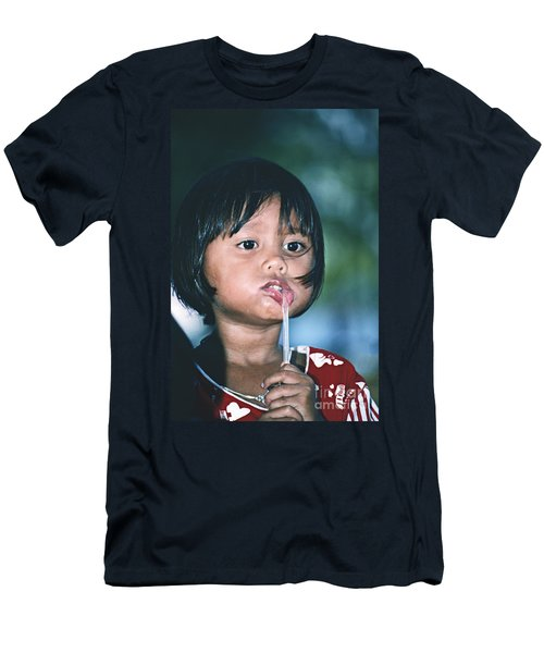 Men's T-Shirt (Slim Fit) featuring the photograph Playful Little Girl In Thailand by Heiko Koehrer-Wagner