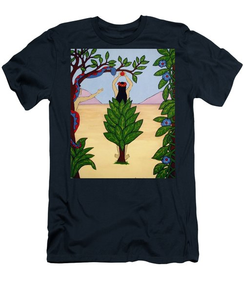 Men's T-Shirt (Slim Fit) featuring the painting Please Don't Pick That Apple by Stephanie Moore