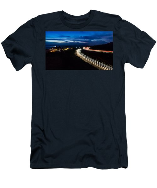 Point Vincente Light Trails Men's T-Shirt (Slim Fit) by Ed Clark