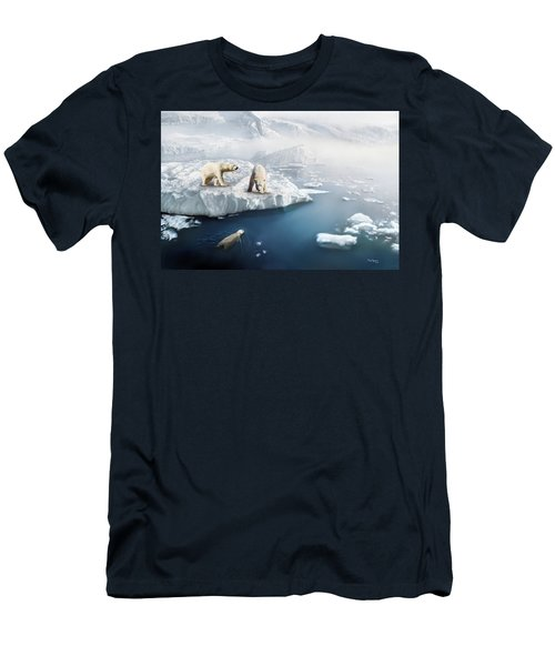 Men's T-Shirt (Slim Fit) featuring the digital art Polar Bears by Thanh Thuy Nguyen