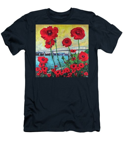 Poppies Along The Riverfront Men's T-Shirt (Athletic Fit)