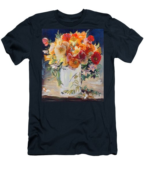 Men's T-Shirt (Athletic Fit) featuring the painting Poppies, Clematis, And Daffodils In Porcelain Vase. by Ryn Shell