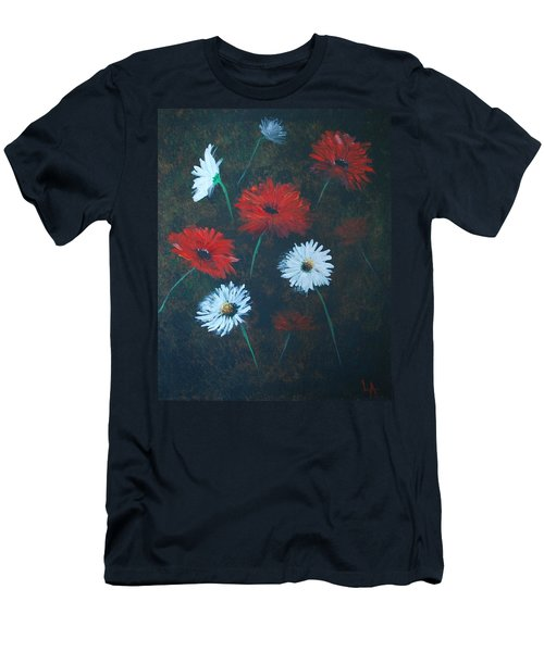 Men's T-Shirt (Slim Fit) featuring the painting Poppin Daisies by Leslie Allen