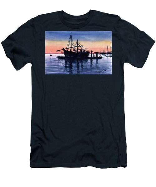 Men's T-Shirt (Athletic Fit) featuring the painting Portuguese Fishing Boat by Dora Hathazi Mendes