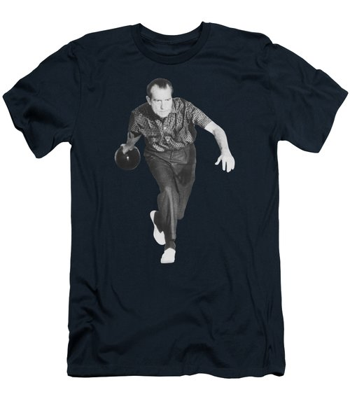 President Richard Nixon Bowling At The White House Men's T-Shirt (Athletic Fit)