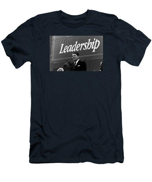 President Ronald Reagan Leadership Photo Men's T-Shirt (Athletic Fit)