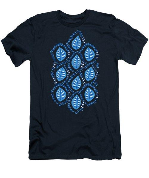 Pretty Decorative Blue Leaves Pattern Men's T-Shirt (Athletic Fit)