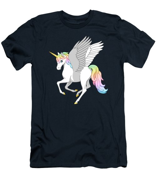 Pretty Rainbow Unicorn Flying Horse Men's T-Shirt (Athletic Fit)