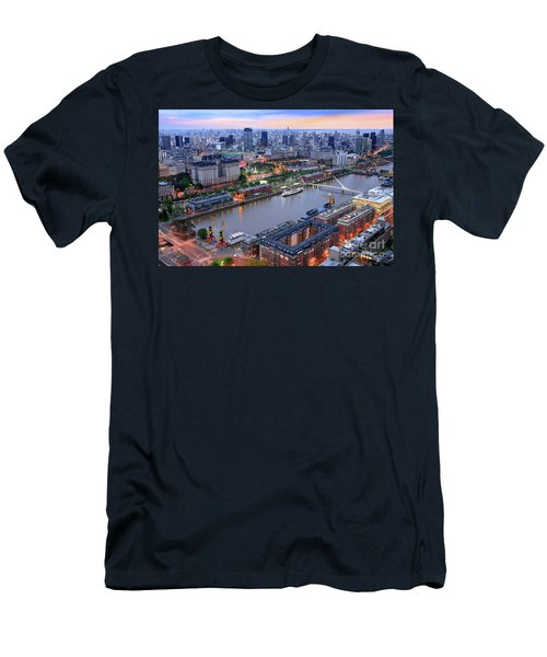 Puerto Madero Pier 3 Men's T-Shirt (Slim Fit) by Bernardo Galmarini