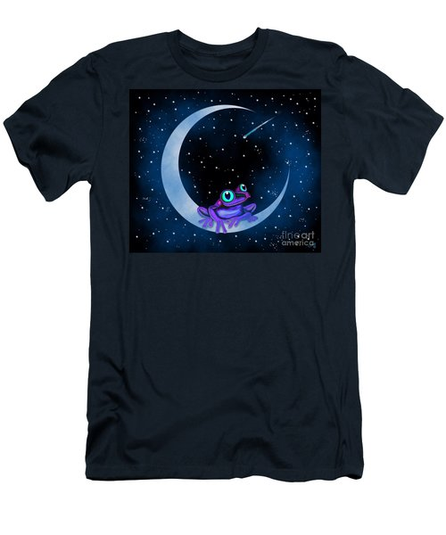 Men's T-Shirt (Slim Fit) featuring the painting Purple Frog On A Crescent Moon by Nick Gustafson