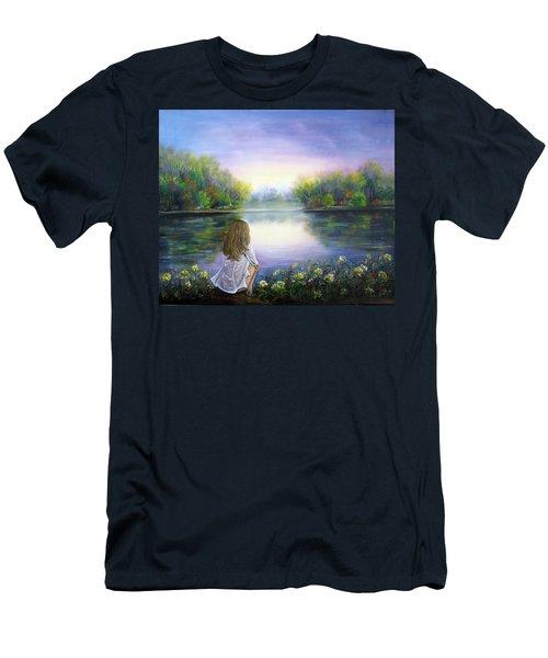 Purple Peace Men's T-Shirt (Slim Fit) by Vesna Martinjak