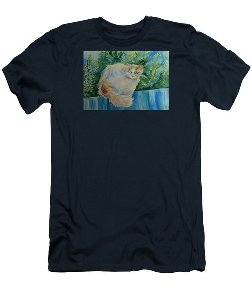 Men's T-Shirt (Slim Fit) featuring the painting Puss by Anna  Duyunova