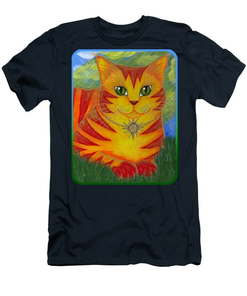 Men's T-Shirt (Slim Fit) featuring the painting Rajah Golden Sun Cat by Carrie Hawks