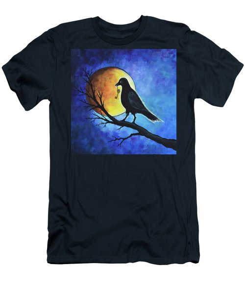 Men's T-Shirt (Slim Fit) featuring the painting Raven With Key by Agata Lindquist