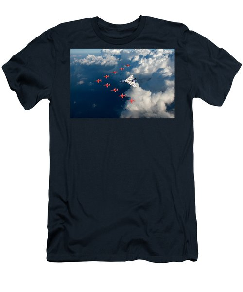 Red Arrows And Vulcan Above Clouds Men's T-Shirt (Athletic Fit)