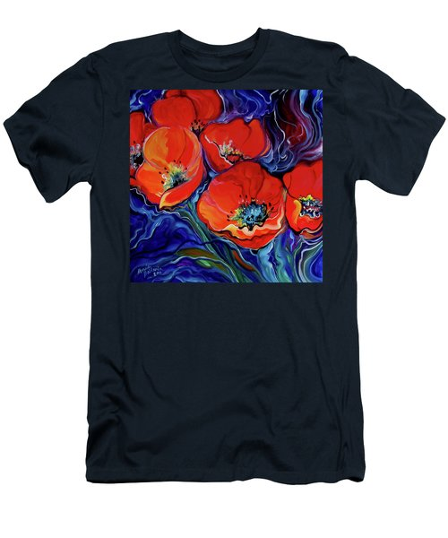 Red Floral Abstract Men's T-Shirt (Athletic Fit)