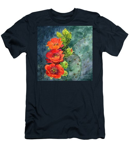 Red Flowering Prickly Pear Cactus Men's T-Shirt (Athletic Fit)