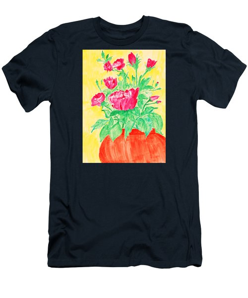 Red Flowers In A Brown Vase Men's T-Shirt (Athletic Fit)