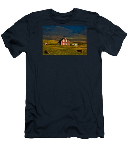 Red House And Horses - Iceland Men's T-Shirt (Slim Fit) by Stuart Litoff