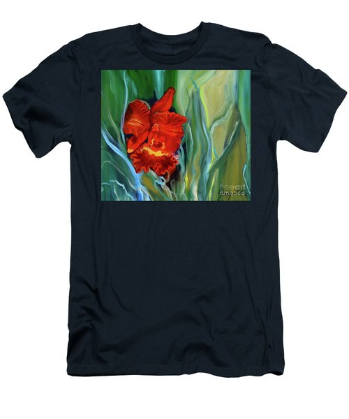 Red Jungle Orchid Men's T-Shirt (Athletic Fit)