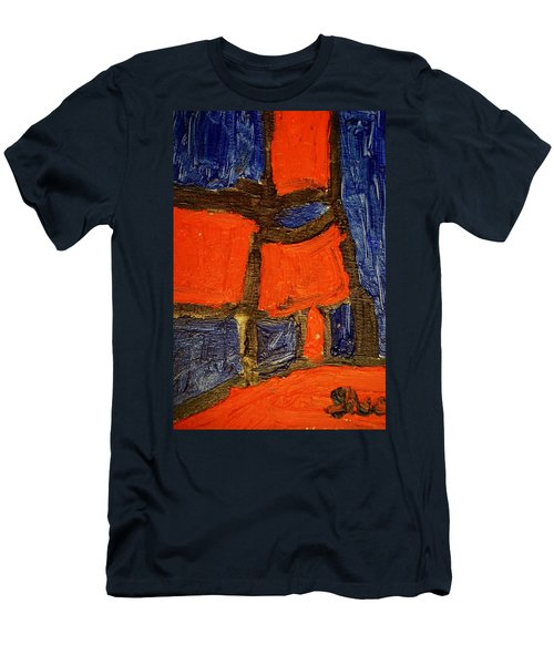 Men's T-Shirt (Slim Fit) featuring the painting Red Lamps by Shea Holliman