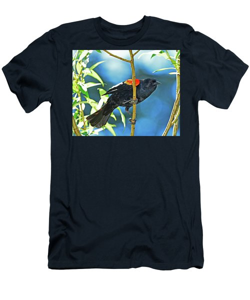 Men's T-Shirt (Slim Fit) featuring the photograph Redwing Blackbird by Jack Moskovita