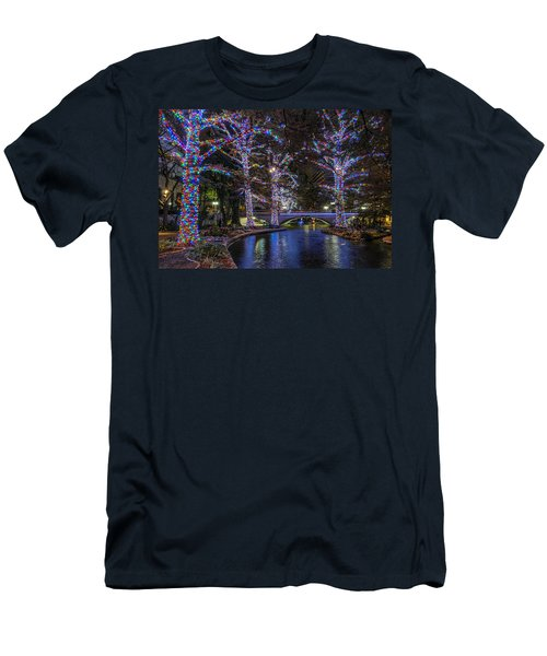 Men's T-Shirt (Athletic Fit) featuring the photograph Riverwalk Christmas by Steven Sparks